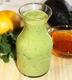 Honey Lemon Avocado Dressing Ingredients ▴1 avocado ▴ 2 tablespoons lemon juice ▴ 2 tablespoons red wine vinegar ▴ 2 tablespoons honey ▴ 2 tablespoons extra virgin olive oil ▴ 1/2 cup water ▴ 1/4 cup cilantro, chopped