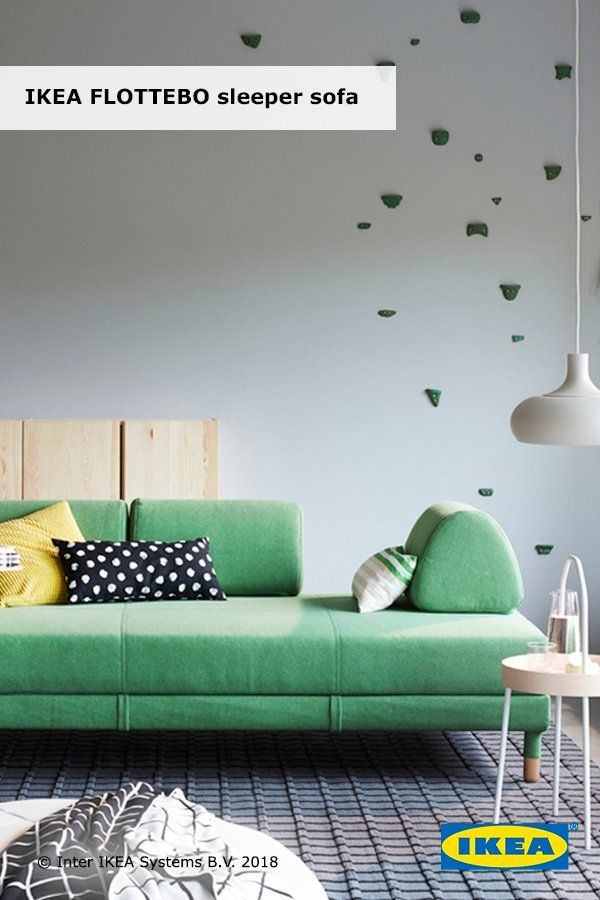 FLOTTEBO Sleeper sofa with side table, Lysed green | Living ...