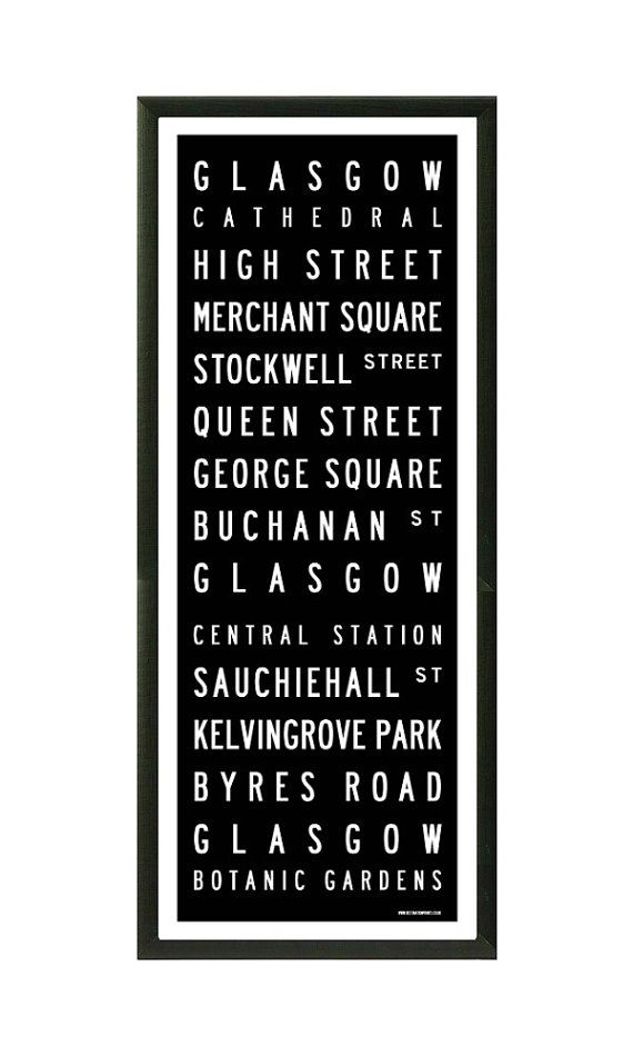 Glasgow tram / bus scroll vintage style poster print on Etsy, $48.26