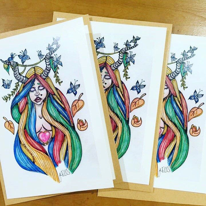 Excited to share the latest addition to my #etsy shop: Lonely Valentine A5 greeting card blank inside with C5 envelope illustration fairytale demon heart nature birthday celebration garden beauty