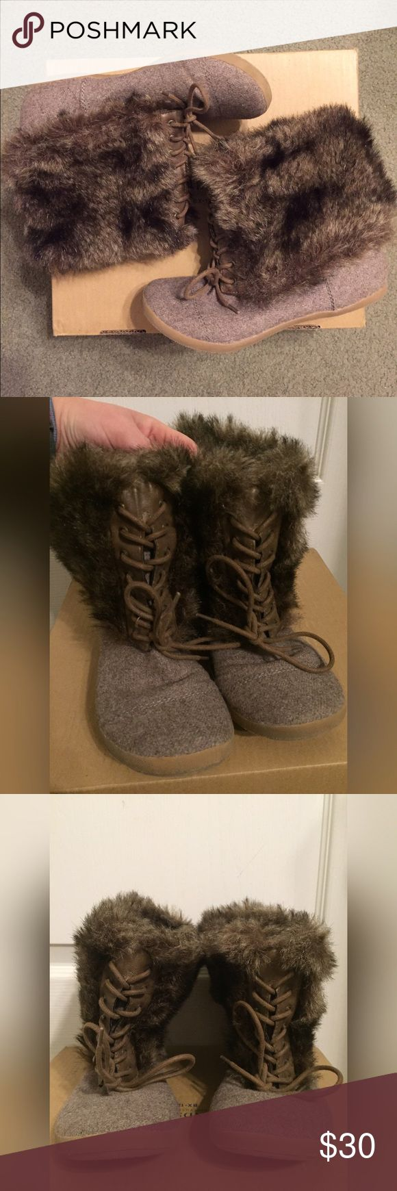 Big Buddha Fur Boots Comfortable and warm brown lace up fur boots, excellent condition only worn once. Can also be turned inside out, hiding all the fur and leaving a plain taupe lace up boot. Big Buddha Shoes Winter & Rain Boots