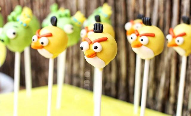 Postreadicción galletas decoradas, cupcakes y pops: Fiesta de Angry Birds