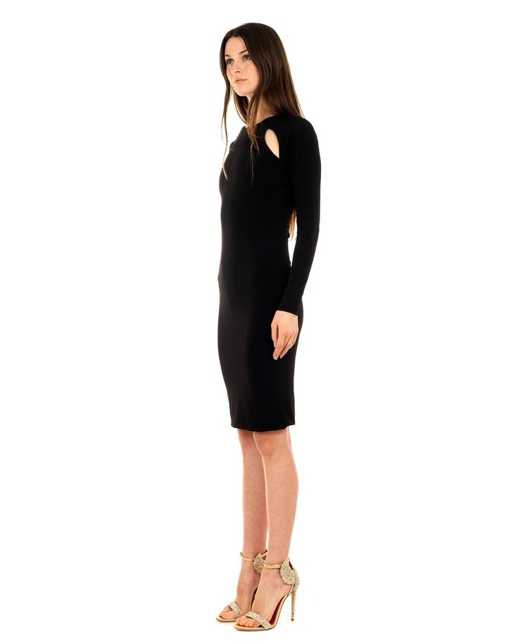 SEN COUTURE BODYCON DRESS SS 2016 Bodycon dress raglan sleeves with splits side cut opening with metallic gold inserts back invisible zip knee legth double fabric 100% Italian Jersey dry wash only