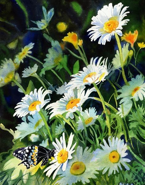 Giclée Flower Butterfly Daisy Daisies Floral Garden  Art of a watercolor painting. $65.00, via Etsy.