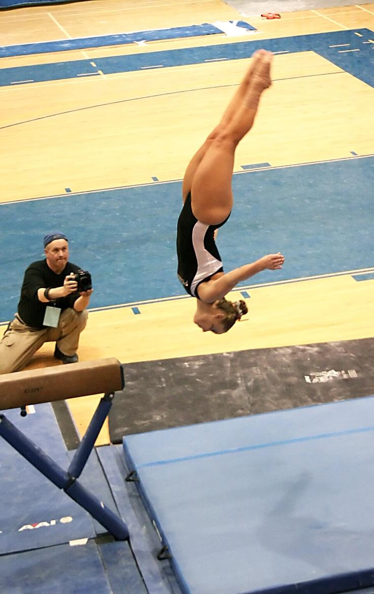 gymnastics competition, gymnast, dismount from balance beam routine #KyFun