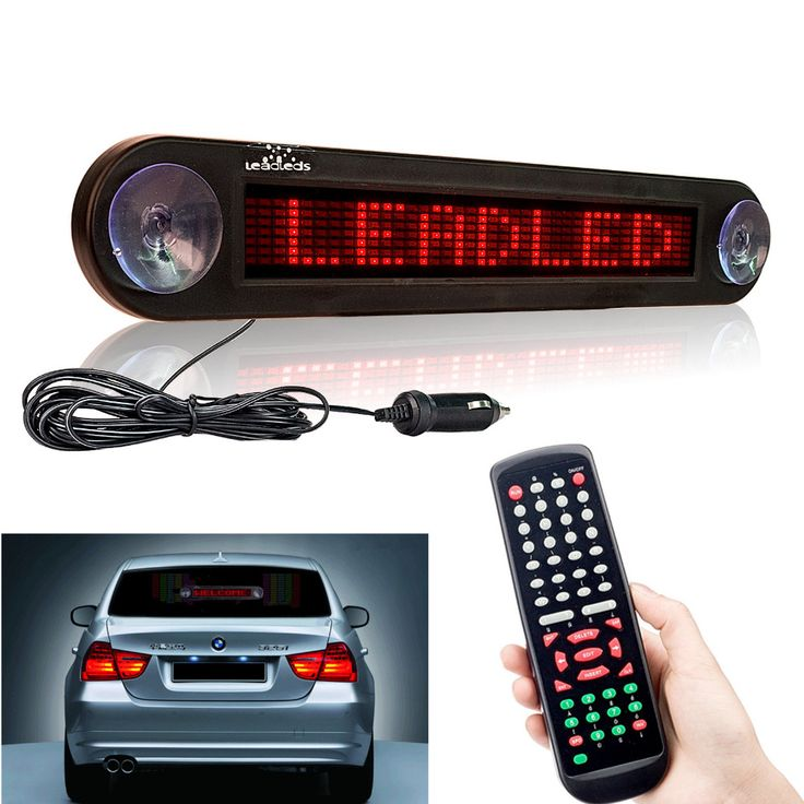 12V 30cm Red Car Led Sign Remote Control Programmable Scrolling Advertising Message Scoreboard Car Rear window Moving Sign