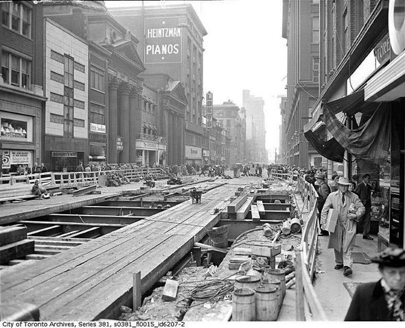 1949. Toronto Subway Construction Gets Underway on Yonge St.