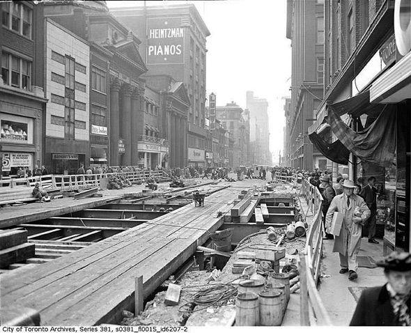 Toronto 1940s - subway construction gets underway