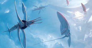 Arte, abiogenisis, en el cielo, criaturas, vuelo, tentáculo