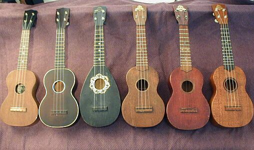 """Favilla Ukuleles: From left to right: 1.) an early uke, 1890 to 1919 (1890 to about 1910 if label reads """"marca aquila""""; 1915 to 1919 if label reads """"Favilla Bros.""""  2.) A late teens or early 1920's model U2. 3.) 1920's teardrop uke. 4.) Model U-2, probably 1930's to 1940's. 5.) Model U3, late 1960's. 6.) Model U3, late 1950's to early 1960's."""