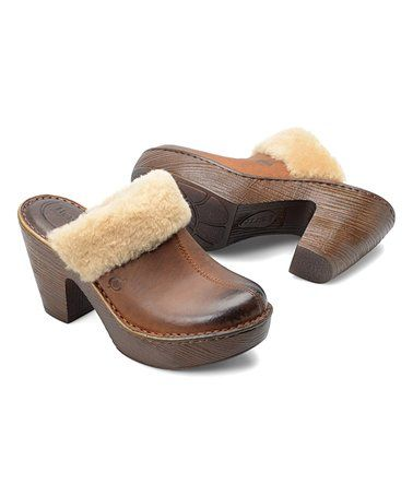 9253808c3c486 Love this Russet   Nutmeg Faux Shearling Prespa Leather Clog - Women on   zulily!  zulilyfinds