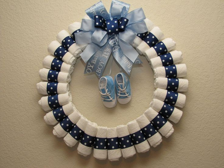 Large baby Boy Diaper Wreath. $45.00, via Etsy.
