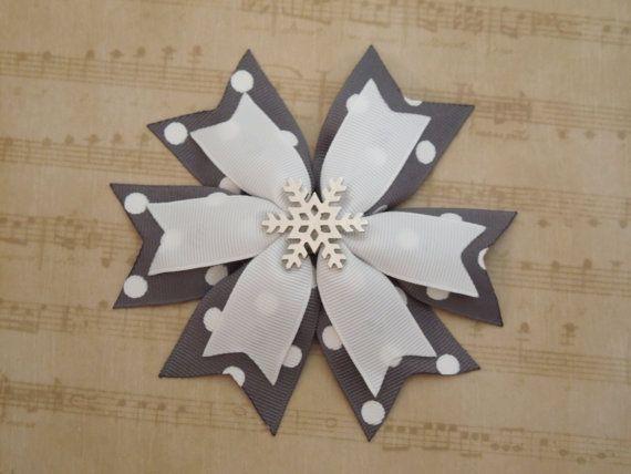 Snowflake Pinwheel Hair Bow Grey  White by SewCuteBoutiqueBow, $5.95