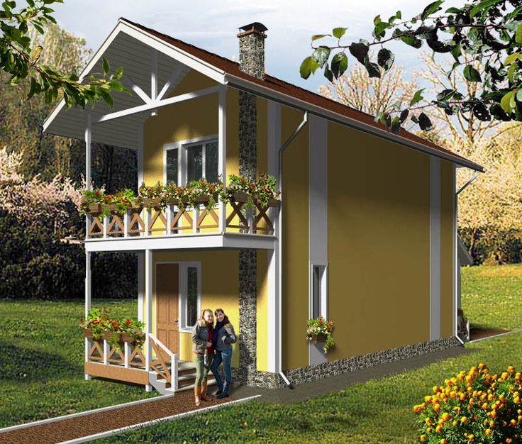 House plan by AkvilonPro: ''CHIZIK'' 72 М²  Two-storey house for a narrow plots