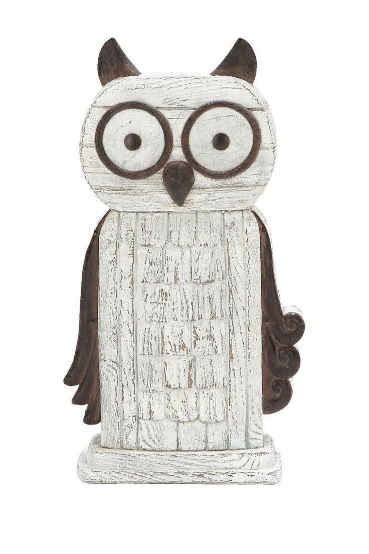 Large Wooden Owl Decoration