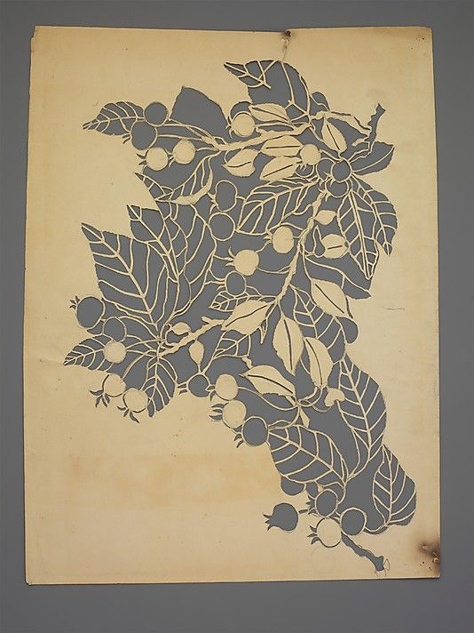 Paper stencil by Dorothy Marshall Hornblower, before 1905. Hornblower printed the textiles at Tiffany Studios