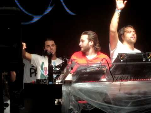 "Swedish House Mafia  dropping their new track ""Leave the World Behind"" (Dirty South remix) at Beatport Pool Party during Winter Music Conference, April 2009, in South Beach."