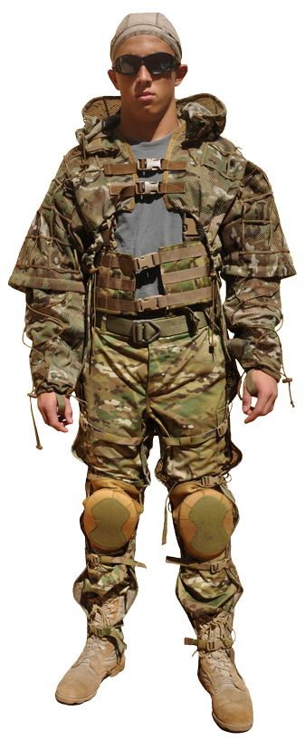 Sniper Garment Kit #1   Included:  MCM-4 Cobra Body Includes Adjustable Hood that is detachable (Sleeve upgradable), Wide grid   CS-3 HDM Cobra Sniper Sleeves, Multicam (includes padding)  MCM-4 Multicam Mesh Leg Chaps, Wide Grid  Not included: Knee pads, and Tactical Chest Rig (seen on lower torso), pants, belt.