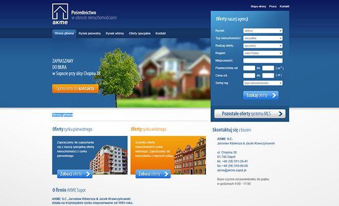 AKME: Web page of AKME real estate agency - Jamel Interactive interactive agency Gdansk, Tricity