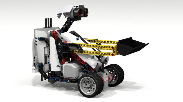 """This """"Fllying Lemur"""" Lego Mindstorms EV3 robot has a front lifting mechanism. The EV3 Ultrasonic Sensor (the Lemur's """"eyes"""") can respond to your hand movements. The front EV3 Color Sensor allows for """"line following"""" in FIRST Lego League (FLL) robot games. An optional #2951 """"Technic Digger Bucket 8 x 10"""" ( www.bricklink.com/catalogItem.asp?P=2951 ) can be attached by altering the length of the (yellow) Technic Liftarms. An EV3 Gyro Sens..."""