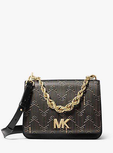 FrenchEconomie™ Winter 2019 Purses   Handbags  Michael Kors Mott Large  Metallic Deco Leather 8a1a1589a5ed2