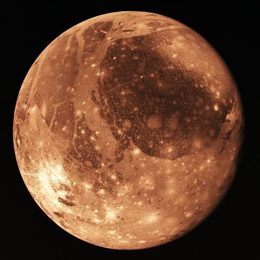 Ganymede - Jupiter's largest moon and the largest moon in our solar system - twice the mass of our moon 5268 km diam. Named after the mythological character Ganymede, Ganymed or Ganymedes