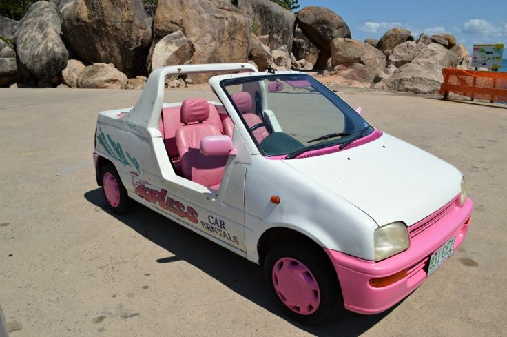 Tropical Topless Cars on Magnetic Island look like they are from a Barbie commercial.