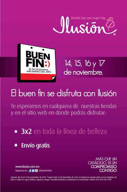 Ofertas Buen Fin: 3 X 2 en toda la línea de Belleza + Envío Gratis, en Ilusión. Buen Fin, del 14 al 17 noviembre de 2014. #Promo #BuenFin