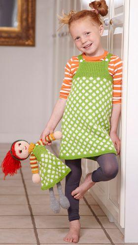 Fin, strikket spencer til piger, kjole til piger