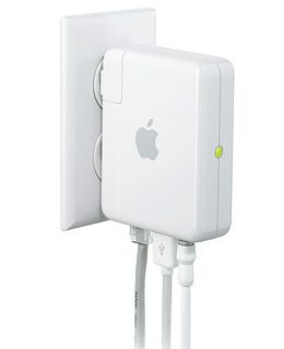 Originally marketed as a device for extending the range of an existing Wi-Fi network or for beaming music from a computer to a home stereo system, Apple's Airport Express also functions as a wireless base station in its own right. Just plug that Ethernet cable into the box and the box into an unoccupied outlet. When you fire up your computer, the transmitter shows up, ready to be configured into your own private Wi-Fi domain.