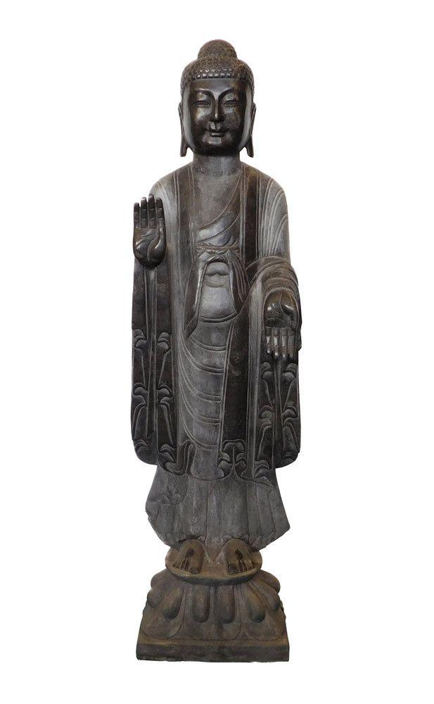 Chinese Black Gray Stone Standing Abhaya Mudra Buddha Statue cs1529S