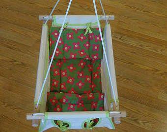 Oscilación del bebé orgánico, interior del oscilación, oscilación al aire libre, orgánico Swing, lona orgánica interior / al aire libre bebé y del niño oscilación w amortiguador - flores