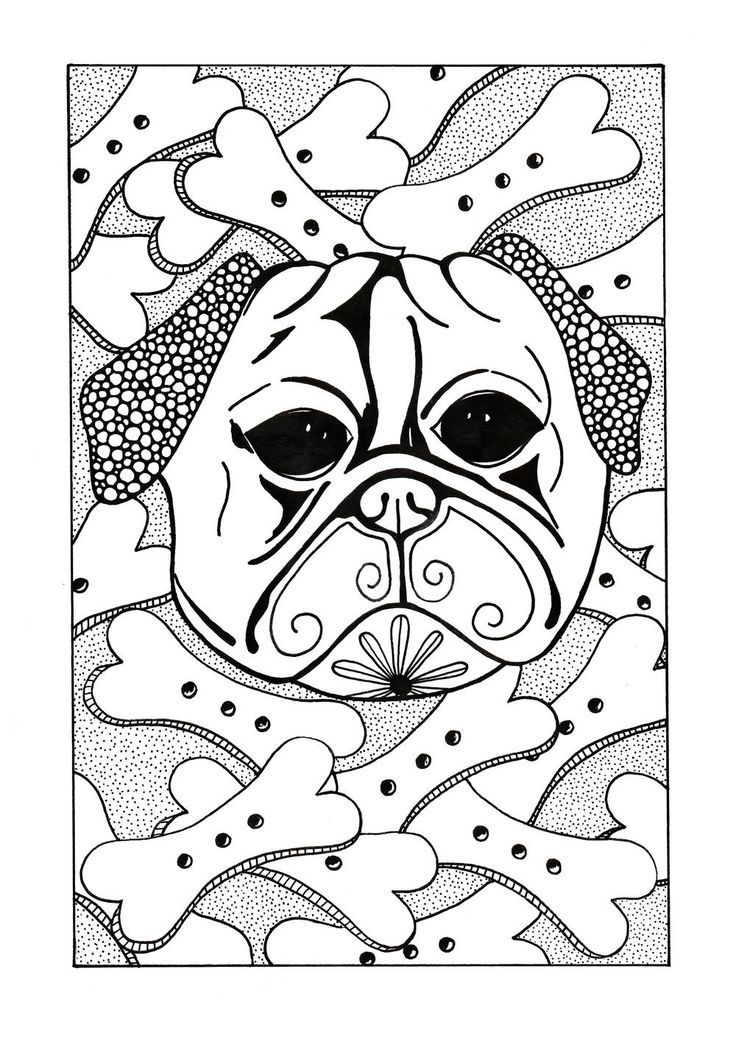 Bone Lovin Dog Adult Coloring Page Adult Coloring Pages