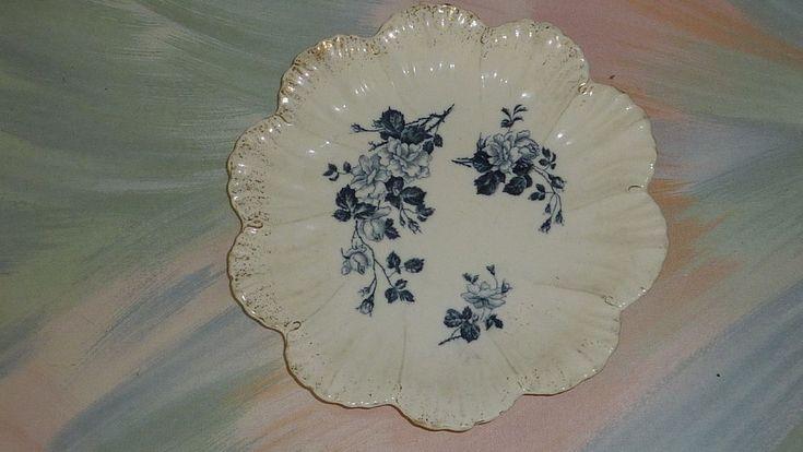 "Vintage Franz Ant Mehlem Rhein Bonn Victorian Bowl GERMANY Blue Roses 9"""