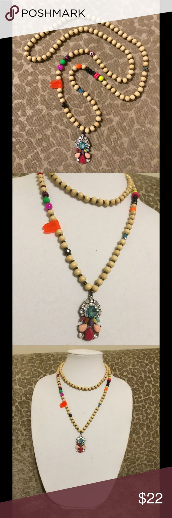 Single or Double Wrap Neon Festival Necklace Really playful, lightweight, versatile beaded petite pendant necklace! Mostly wooden beads but also resin and metal beads with a colorful, abstract rhinestone pendant. Purchased at Nordstrom, brand new, never worn! Baublebar Jewelry Necklaces