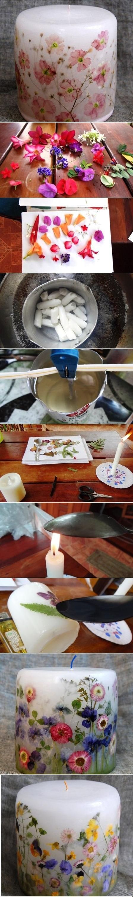 Candles Decorated With Dried Flowers                                                                                                                                                                                 Mais