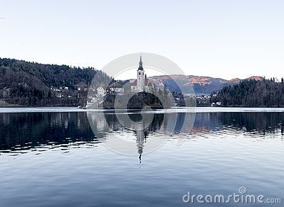Landscape of the lake of Bled in Slovenia