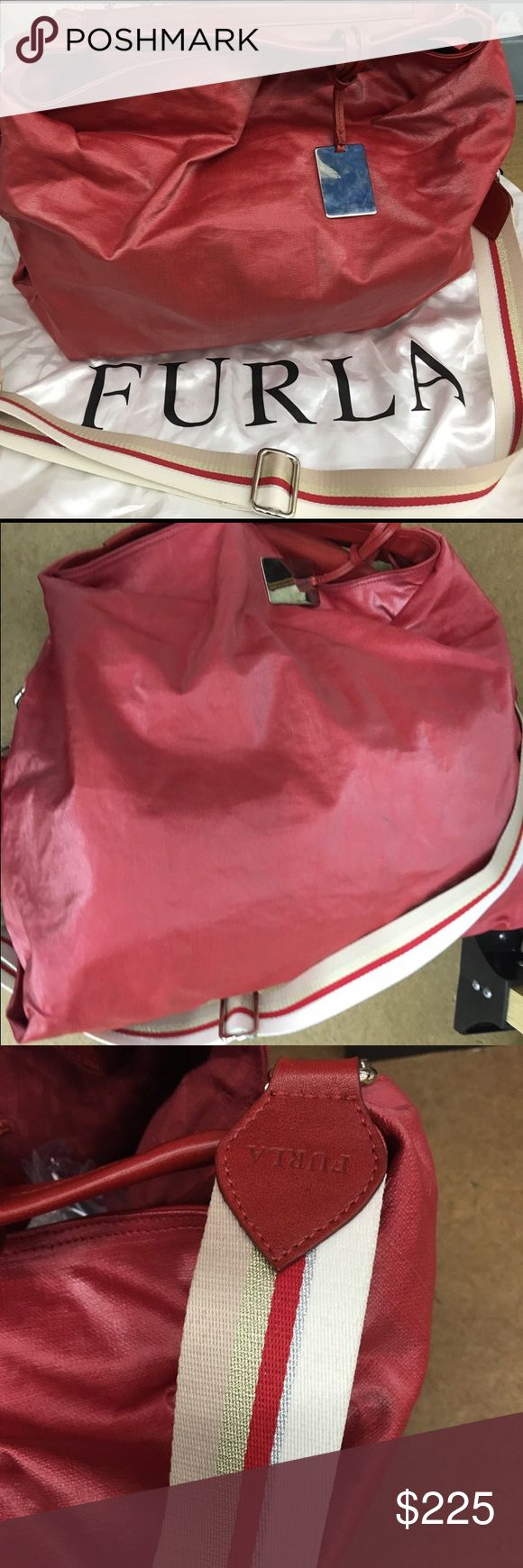 Furla extra large tote bag (RED) Extra large bag. New without tags. Shiny coated fabric. Furla Bags Satchels