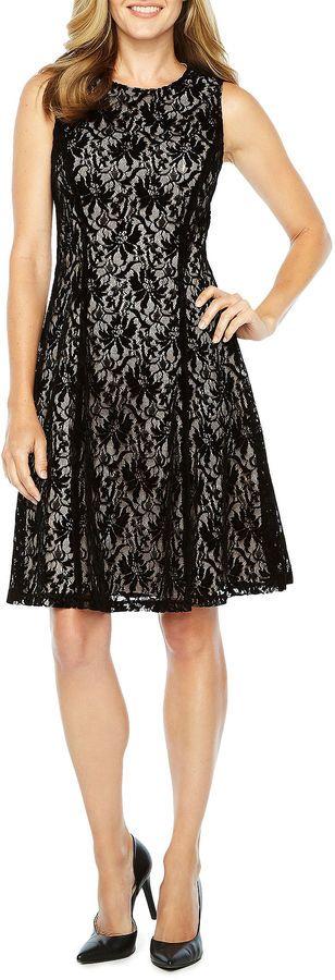 Liz Claiborne Sleeveless Velvet Lace Fit & Flare Dress