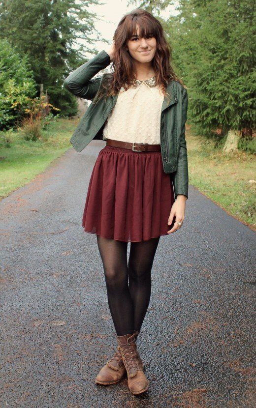 Button down cream top red skirt black tights brown ankle books