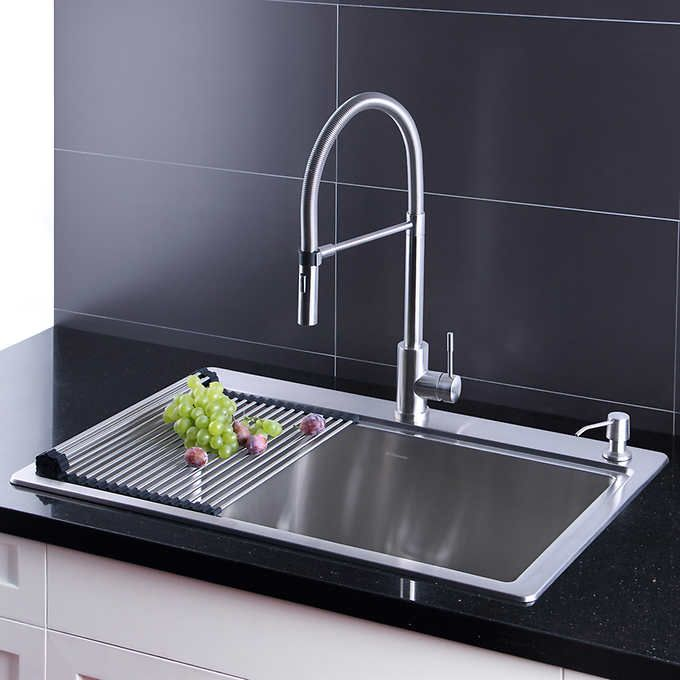 Afa Stainless 33 Inch Sink And Semi Pro Faucet Combo Pro Faucet Kitchen Sink Faucets Sink
