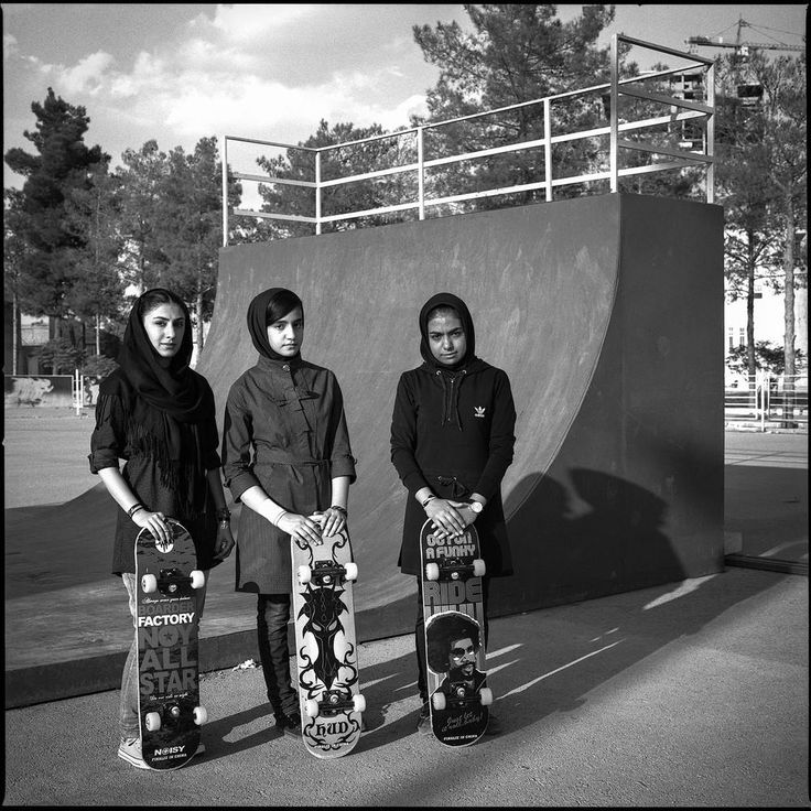 In Kerman, located in southeastern Iran, girls take ownership of skateboarding, too. Wearing mandatory veils and long sleeves, here are three that train regularly with boys.