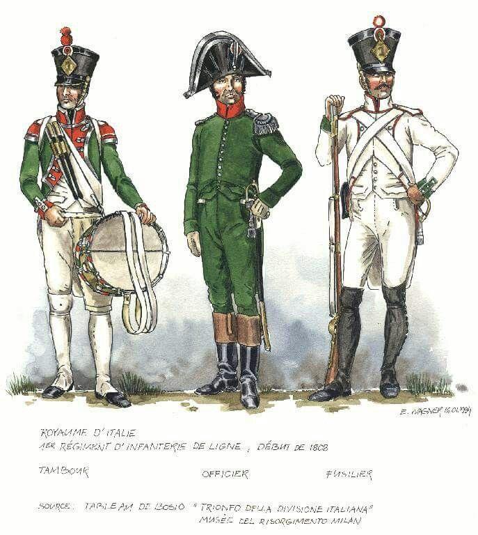 Italy; 1st Line Infantry; Drummer, Officer & Fusilier, start of 1808