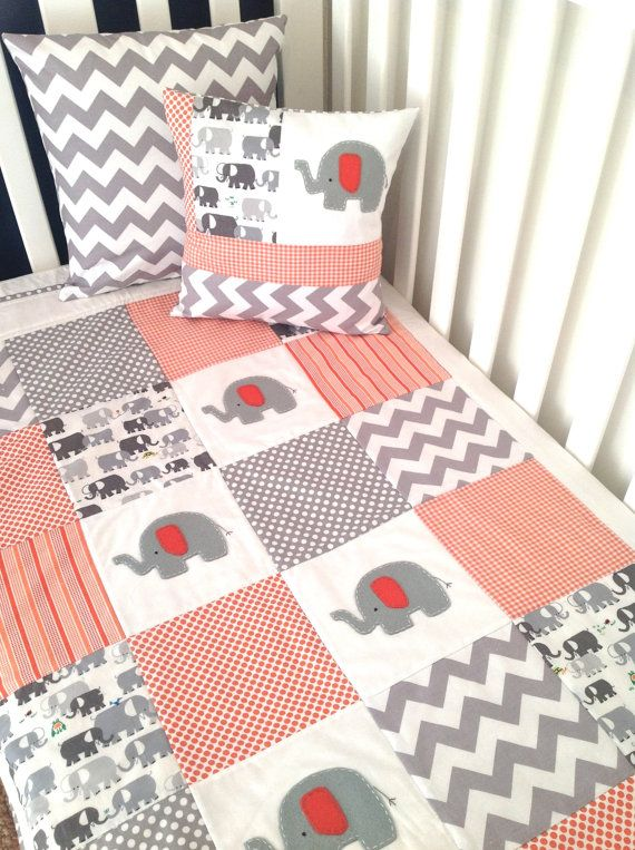 Elephant Baby Crib Quilt and Pillow in Orange by AlphabetMonkey