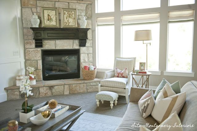 Eclectic Home Tour of Sita Montgomery - Beautiful stone fireplace in this stunning light and bright family room with open floor plan eclecticallyvintage.com
