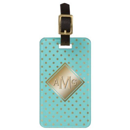 Polka Dot Gold Glam Tiffany Blue Modern Monogram Luggage Tag - girly gifts special unique gift idea custom