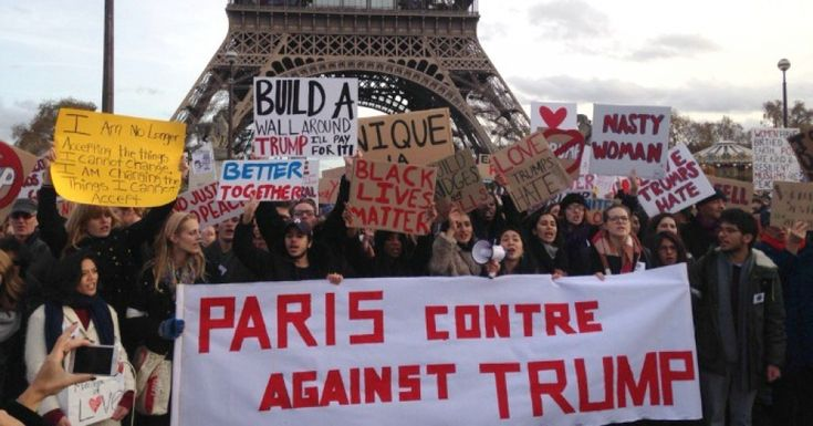 The international community is focused on France's upcoming election, and the rise of National Front leader Marine Le Pen, as the next indicator of the potency of the alt-right movement. (Photo: #Paris Against #Trump/ Facebook)