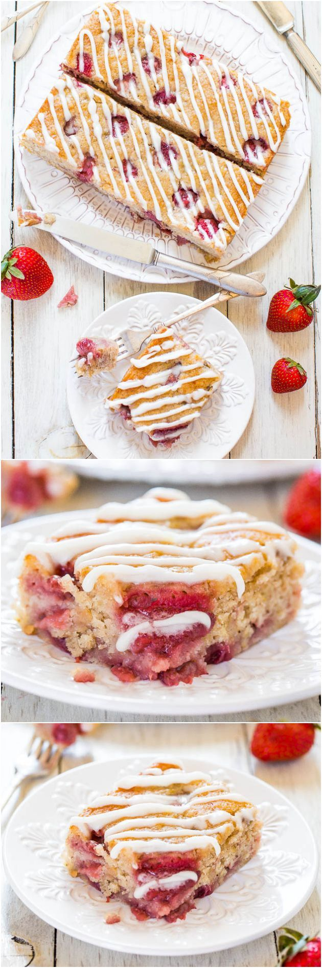 Soft & Fluffy Strawberry Banana Cake (vegan): You'll never miss the eggs or butter in this soft, healthier cake bursting with berries!