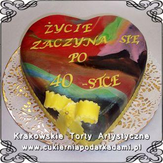 055. Tort w kształcie serca na 40ste urodziny. Heart cake for 40th birthday.