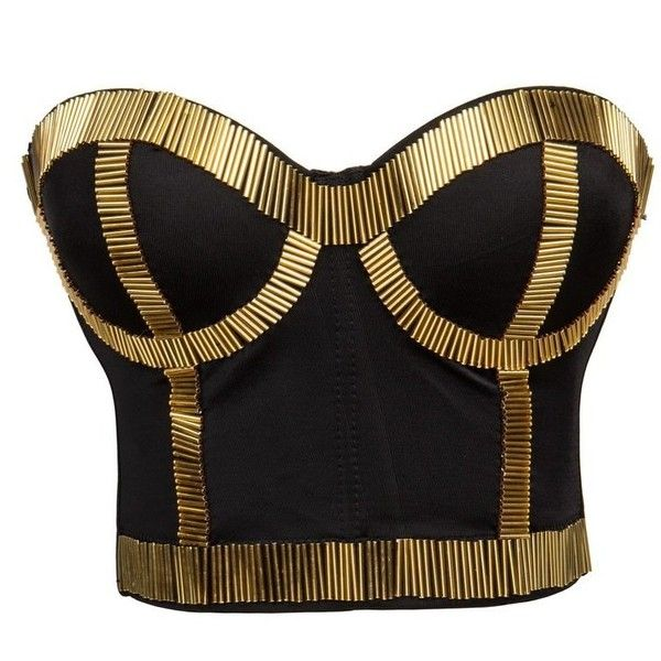 BSLINGERIE Madonna Style Metallic Studs Bustier Bra Corset Top ($25) ❤ liked on Polyvore featuring tops, bustiers, shirts, shirt top, corset bustier, bustier corset, corsette tops and bustier corset tops
